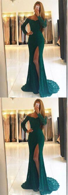 Green Prom Dresses, Long Prom Dresses, 2018 Prom Dresses Lace, Sheath/Column Prom Dresses Off-the-shoulder, Modest Prom Dresses For Girls Senior Prom Dresses, Prom Dresses For Teens, Prom Dresses Online, Mermaid Prom Dresses, Cheap Prom Dresses, Prom Party Dresses, Trendy Dresses, Nice Dresses, Graduation Dresses