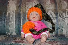 camo and orange infant elf hat