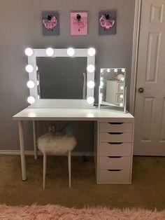 Room Ideas Bedroom, Bedroom Decor, Bedroom Small, Master Bedroom, Vanity Room, Diy Vanity Table, Ikea Makeup Vanity, Vanity For Bedroom, White Makeup Vanity