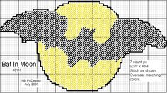 BAT IN MOON by NB PcDesigns -- WALL HANGING