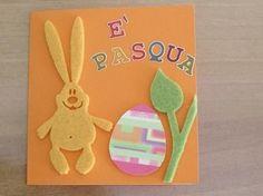 Cartolina di Pasqua con galline di feltro