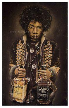 Jimi's Jack by @jeremyworst  Jimi hendrix jack daniels artwork painting acrylics