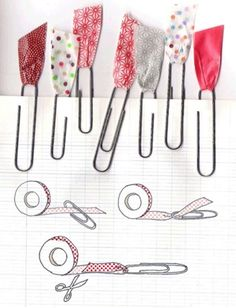 These are Washi Tape paperclip bookmarks. I think this could be done with fabric easily enough and a good way to use up scraps! These are Washi Tape paperclip bookmarks. Fun Crafts, Diy And Crafts, Paper Crafts, Diy Paper, Paperclip Bookmarks, Ribbon Bookmarks, Ideias Diy, Trombone, Masking Tape