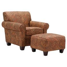 This Portfolio Mira chair and ottoman set is made from hardwood and upholstered in stunning printed fabric. The set features a thick foam back cushion for ultimate comfort.