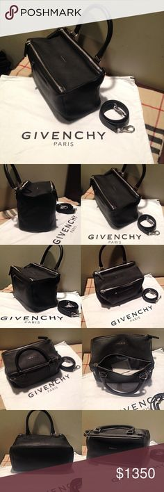 Givenchy Pandora Medium Black Leather Bag NWT NEW WITH TAGS  GIVENCHY Paris: Pandora Medium Debossed Black Leather Satchel Bag Original Price: $2,450 @ Neiman Marcus   *BRAND NEW NEVER BEEN USED!! *STILL STUFFED WITH ORIGINAL PAPER PACKAGING!! *COMES WITH ORIGINAL GIVENCHY PARIS WHITE CLOTH DUST BAG (CAME WITH BAG PURCHASE @ NEIMAN MARCUS)!!  Asking for $1,350 / O.B.O  (Need to sell immediately for rent $- so any any reasonable offers will most likely be accepted! So MAKE AN OFFER!!)…
