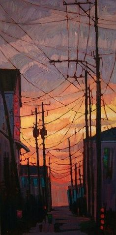 """""""Alley at Dawn"""" - René Wiley Oil on Canvas 40 x 20"""