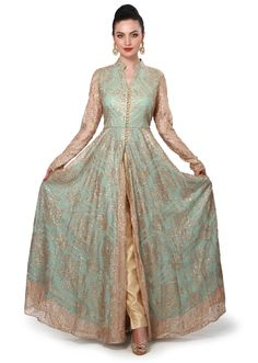 Gold and turq anarkali suit enhanced in sequin embroidery only on Kalki
