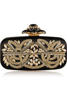 Oscar de la Renta|Goa embellished satin box clutch|NET-A-PORTER.COM