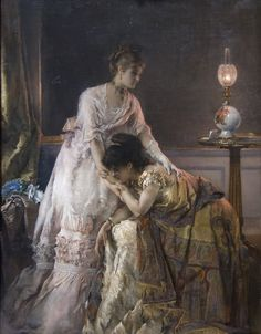 Alfred Stevens was one of Belgium's leading artists who specialized in paintings of fashionable young women in elegant interiors. As a young boy, Alfred Stevens - was surrounded by art: his father was