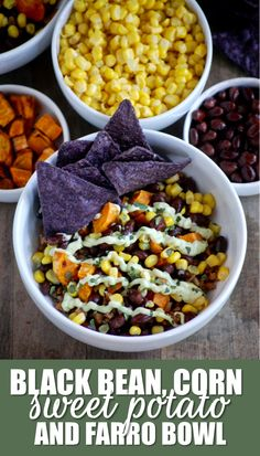 black bean, corn, sweet potato and farro bowl with cream avocado yogurt sauce // cait's plate