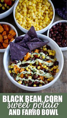 black bean, corn, sweet potato and farro bowl with cream avocado yogurt sauce // cait's plate
