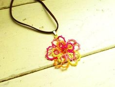 Tatted Pendant Necklace in Pink and Yellow by StitchyImpressions, $30.00