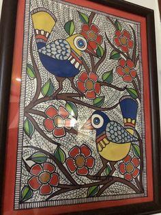 Madhubani Art, Madhubani Painting, Orange Saree, Indian Folk Art, Indian Art Paintings, Knife Painting, Elements Of Art, Sketchbooks, Trays