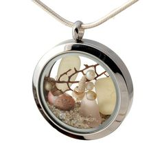 Pastel Patinece - Genuine Sea Glass, Starfish, Sea Fan, Pearls & Beach Sand - Locket Necklace
