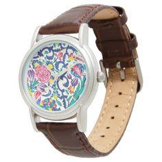 Floral Persian Garden Watch Zazzle Com Persian Garden Garden Watch Modern Tile Designs