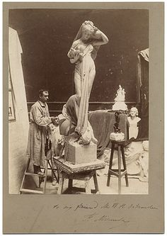 Citation: Fernando Miranda in his studio, 188-? / unidentified photographer. Miscellaneous photographs collection, Archives of American Art, Smithsonian Institution.