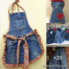 Sewing projects clothes upcycling recycle jeans 69 Ideas for 2019 Sewing Jeans, Sewing Aprons, Sewing Clothes, Diy Clothes, Jean Apron, Cool Aprons, Leftover Fabric, Jeans Denim, Sewing Projects For Beginners