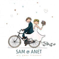 Trouwkaart bruidspaar fiets