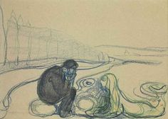 Edvard Munch (Norwegian, 1863-1945), Melancholy Man and Mermaid (Encounter on the Beach), c.1896-1902. Pastel and wash on paper, 25.3 x 34 cm.
