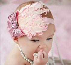 Infant Pink Feather Plumes Headband Light Pink Sequin Bow Embellishment, Pink stretch lace Baby, Girls,  Photo Props
