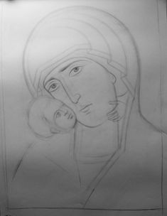 Teaching drawing more free materials on our site… Byzantine Art, Byzantine Icons, Teaching Drawing, Best Icons, Orthodox Icons, Painting Process, Religious Art, Line Drawing, Fresco