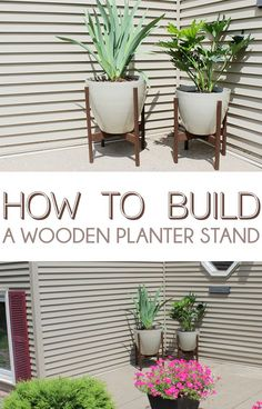 DIY Wooden Planter Stand Display all your gorgeous plants in style. How to Build a Wooden Planter St Diy Wooden Planters, Wooden Diy, Planter Ideas, Modern Planters, Planter Boxes, Diy Monogramm, Diy Plant Stand, Plant Stands, Diy Holz