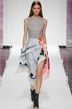 Christian Dior | Resort 2015 Collection | Style.com  A simple top with asymmetrical graphic skirt