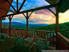 Pigeon Forge Cabin - Highlander - 2 Bedroom-- What I wouldn't give to be sitting there watching that sunset