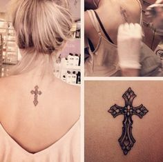 Flower combine with cross tattoos for women -Tattoo 4 Me