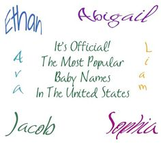 Hot of the press. Social Security's list of the most popular baby names of 2012. #ohbaby