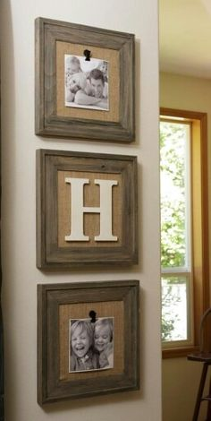 Rustic burlap old wood decor picture frames... I need to do this! I love how easy it is to change pics! (A clip!)