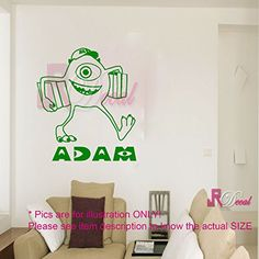 MIKE Monster Inc Uni Personalized Wall Art Sticker Decal Mural Vinyl Removable Kids room Decor 1 >>> For more information, visit image link-affiliate link.