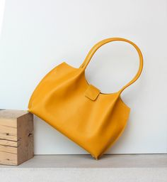 Leather Bags – Yellow leather tote bag, shoulder bag – a unique product by BogaBag via en.DaWanda.com #likeasun