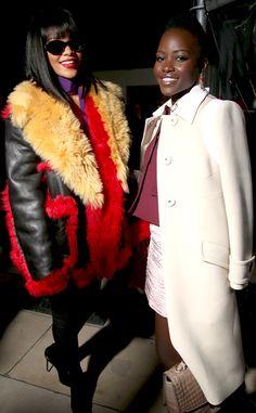 Rihanna and Lupita Nyong'o catch up at the Miu Miu show at Paris Fashion Week!