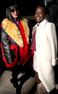 Rihanna and Lupita Nyong'o catch up at the Miu Miu show at Paris Fashion Week!