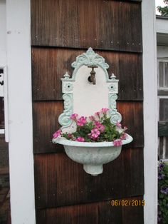 Antique Signed French Cast Iron Lavabo Wall Fountain Sink /