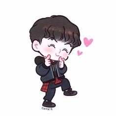 Oh chibi hun Exo Chanyeol, Kpop Exo, Character Drawing, Character Design, Chanbaek Fanart, Hunhan, Exo Cartoon, Exo Stickers, Exo Anime
