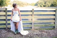 Country wedding photo - hike that dress and show those boots!