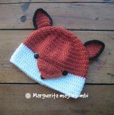 Cappello volpina, cuffia, berretto volpe - bambino - pura lana e alpaca - fatto a mano  all'uncinetto