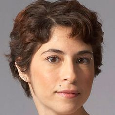 pixie cut for curly hair — products are important to keep hair from puffing up