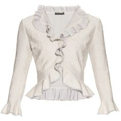 Alexander McQueen Lace-effect knit ruffled cardigan ($1,172) ❤ liked on Polyvore featuring tops, cardigans, jackets, alexander mcqueen, light grey, ruffle top, light gray cardigan, lacy cardigan and lace knit top