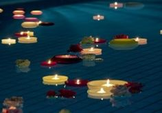 How will you utilize floating candles? Superb inspiring ideas for wedding events… – Floating Candles İdeas. Floating Candle Holders, Unique Candle Holders, Floating Candle Centerpieces, Mason Jar Candle Holders, Wooden Candle Holders, Pond Wedding, Lakeside Wedding, Pool Wedding Decorations, Wedding Centerpieces
