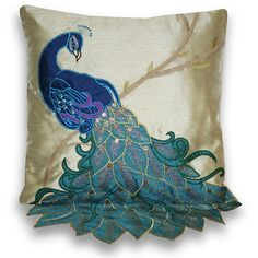 Add a elegant touch to your home decor with this 16-inch beautiful peacock applique pillow on faux silk.