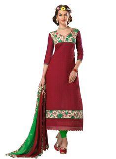 Majesty Chanderi Embroidered Work Churidar Designer Suit