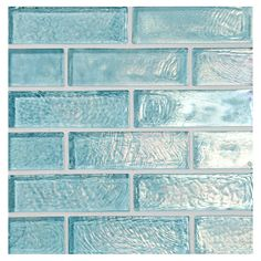 Complete Tile Collection Water & Sky Glass Mosaic Tile - Poseidon Blue - Iridescent, x Staggered Brick Glass Mosaic, MI Color: Poseidon Blue - Recycled Content Glass Pool Tile, Glass Brick, Glass Mosaic Tiles, Mosaic Stones, Florida Home Decorating, Home Interior, Interior Decorating, Apartment Therapy, Iridescent Tile