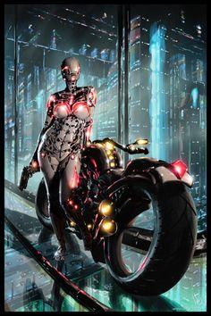Cyberpunk Painting 065 by tower-raven on DeviantArt Cyberpunk 2077, Cyberpunk Girl, Arte Cyberpunk, Cyberpunk Character, Cyborg Girl, Female Cyborg, Cyberpunk Aesthetic, Futuristic Art, Ex Machina