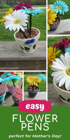 Mother's Day Gifts & Crafts : how to make super-easy flower pens: teacher-appreciation week Sweet flower pens are easy to make and are a SUPER gift for Mothers Day Crafts For Kids, Diy Mothers Day Gifts, Fun Crafts For Kids, Toddler Crafts, Holiday Crafts, Holiday Fun, Rainy Day Activities For Kids, Flower Pens, Forever Flowers