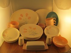 Huge lot 40 piece  Watertown Lifetime Ware ( unless noted )   Melamine Dinner Ware  8 dinner plates 8 dessert plates 8 Saucers plate 7 Coffee tea cups Creamer Cup Sugar bowl large serving plate matching design Medium serving plate (Boonton ware) Medium serving bowl ( OG ) Butter dish salt-and-pepper shaker  Very heavy total 12 lb Shipping weight is 12 - 13 lbs Could be shipped with two separate large Flat rate boxes