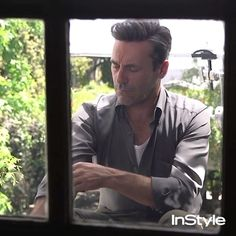 Surprisingly Jon Hamm doesn't always hang out in his handsome black-tie attire.  via INSTYLE MAGAZINE OFFICIAL INSTAGRAM - Fashion Campaigns  Haute Couture  Advertising  Editorial Photography  Magazine Cover Designs  Supermodels  Runway Models