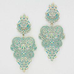 Crochet Rose Earrings in Patina